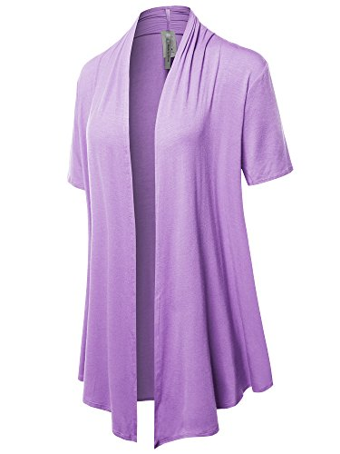 (Solid Jersey Knit Draped Open Front Short Sleeves Cardigan Lavender L)