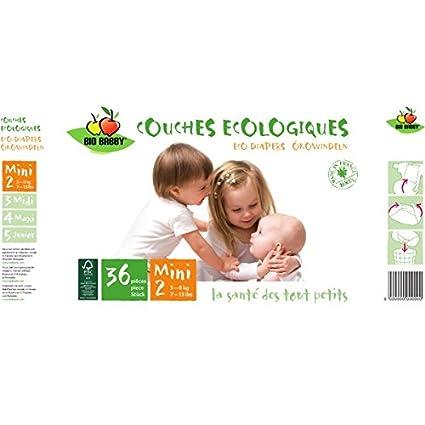 Bio Babby Pañal Ecológico, Mini 3-6 Kg, 36 Unidades