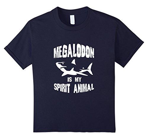 [Kids FUNNY MEGALODON SPIRIT ANIMAL T-SHIRT Zoo Shark Meme Animal 12 Navy] (Father Daughter Halloween Costumes)