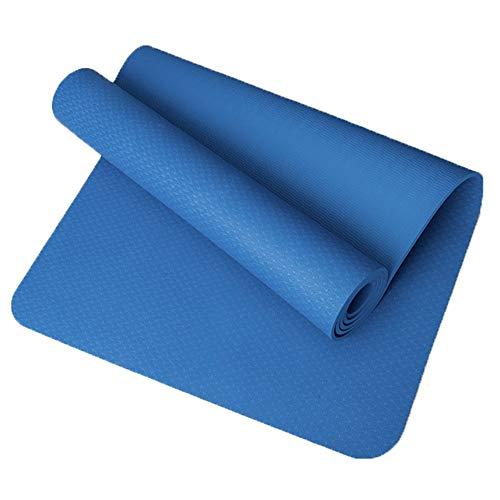 CMmin Home Yoga Mat,2019 New Fitness Mat,Size 18368cm,Travel Yoga Mat Thick 8mm Non-Slip,Hot Melt Bonding Process,Suitable for Most People (Color : Blue) (Best Hot Yoga Mat 2019)