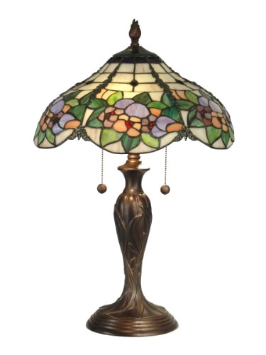 Dale Tiffany TT90179 Chicago Table Lamp, Antique Bronze and Art Glass Shade