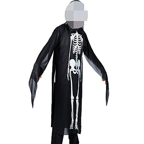 Xelue FF Horror Creepy Screaming Skull Skeleton Ghost Dress-Up Cosplay Clothes Costume Cloak Robe for Halloween Party