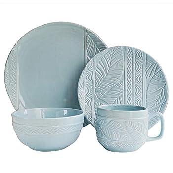 Image of Dinnerware Sets Caribbean Joe 1562507-RB Dolomite Palm Leaf Dinnerware Set, Mist