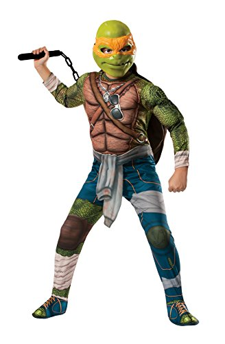 UHC Boy's TMNT Michelangelo Muscle Chest Jumpsuit Child Halloween Costume, Child M (8-10) -