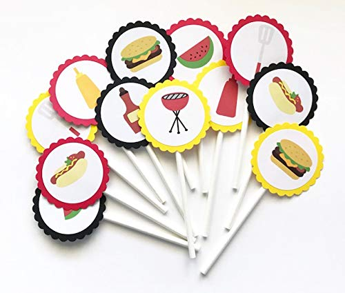 BBQ Theme Cupcake Toppers - Set of 12 -