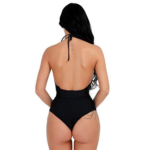 Freebily Bikini Bañador Traje de Baño de Una Pieza Push Up para Mujer sin Espaldas con Relleno