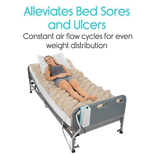 Vive Alternating Pressure Mattress - Includes Electric Pump System and Mattress Pad Cover - Quiet, Inflatable Bed Air Topper for Pressure Ulcer and Pressure Sore Treatment - Fits Standard Hospital Bed