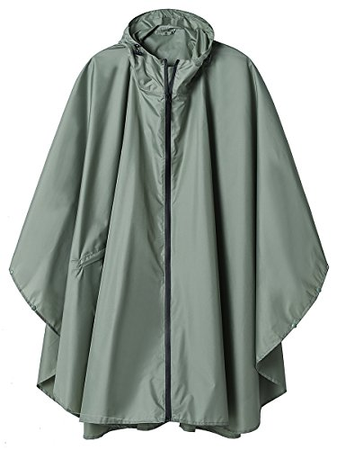 Rain Poncho Jacket Coat for Adults Hooded Waterproof with Zipper Outdoor (Green)