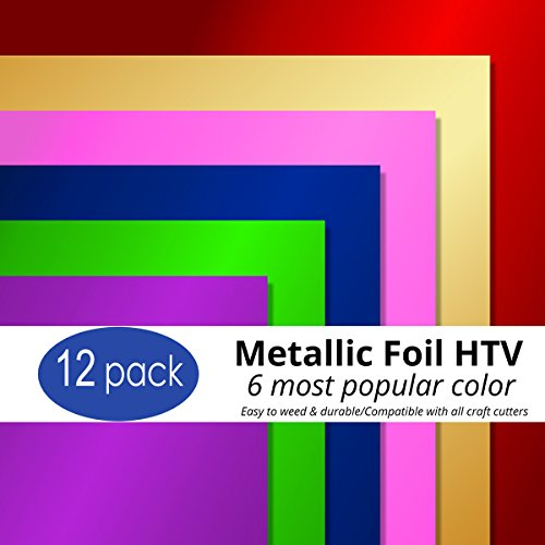 Metallic Heat Transfer Vinyl 12 Sheets Bundle 6 Color and 2 Sheets Each Color-Best Iron On HTV Vinyl for Silhouette Cameo, Heat Press & Cricut Machines (Gloss Green,Purple,Pink,Blue,red, Gold)