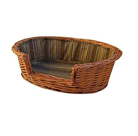 Caseta Cuna Cojín de tela a rayas perro gato animales cesta mimbre Arenero cm 65 x cm 51 H 20 cm: Amazon.es: Jardín