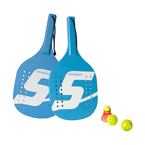 Speedminton Light Wooden Beach Paddle 2 Player Set - Incl. 2 Balls & 1 Original Fun Speeder Birdie - Perfect Alternative to Smashball & Beach Tennis (Wooden Two Paddles)