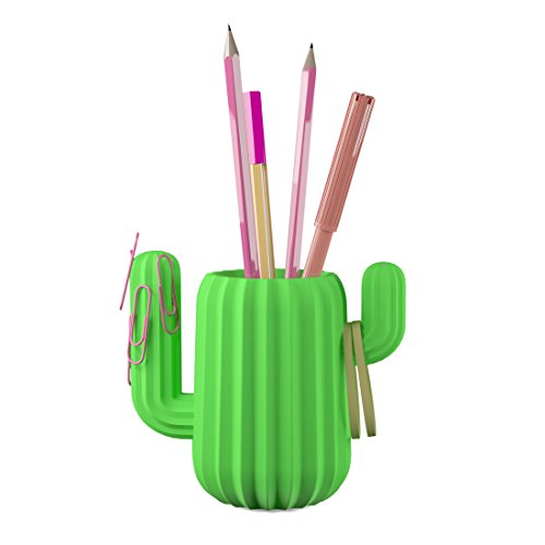 Mustard Green Cactus Novelty Cute Pen Holder Cup Desktop Organizer (Large Image)