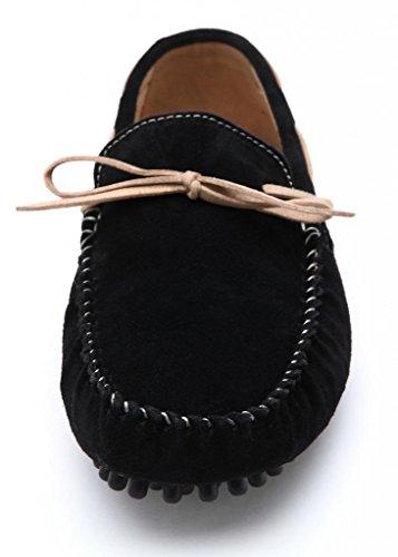 mocasines hombre SUNROLAN mocasines de Bowtie Mocasines cuero de para casuales 2018 2018 moda negros Pisos Vestido nrnP4W7