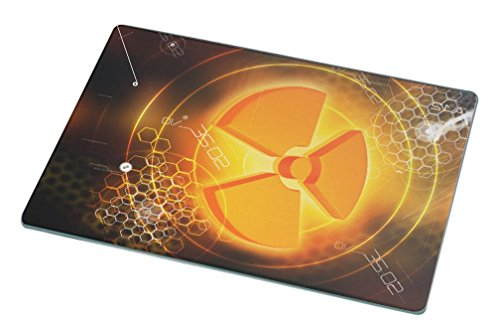 1052 Glasses - Rikki Knight RK-LGCB-1052 3D Scientific Nuclear Symbol Glass Cutting Board, Large, White