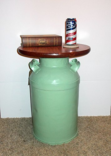 Vintage Milk Can End Table, Pistachio Green
