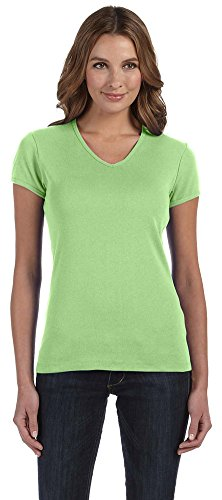 Bella + Canvas Womens Stretch Rib Short-Sleeve V-Neck T-Shirt (1005)- LIME WEDGE,L