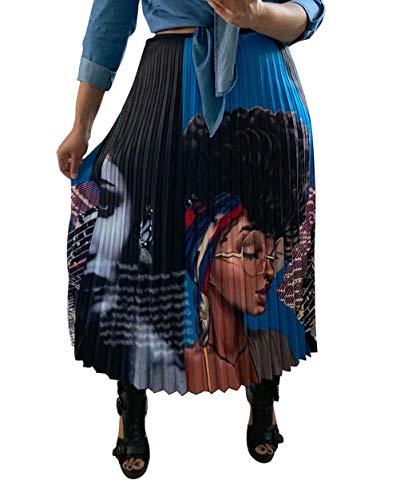 ThusFar Women's Graffiti Pleated Skirts Cartoon Printed Elastic Waist A-Line Swing Midi Skirt Lady XL