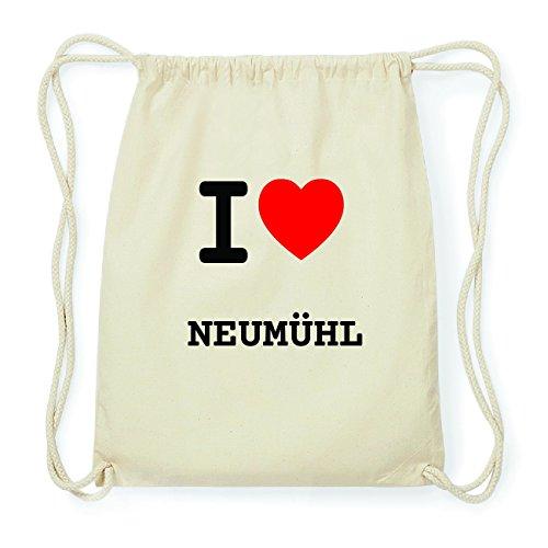 JOllify NEUMÜHL Hipster Turnbeutel Tasche Rucksack aus Baumwolle - Farbe: natur Design: I love- Ich liebe vzS0Yi