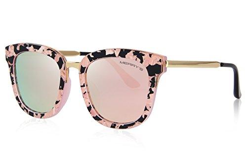 MERRYS Women Polarized Sunglasses Cat eye Sun glasses Metal Temple S6082 Pink