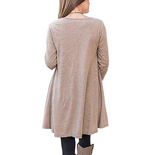 Grande Longue Hibote Robe Coton Femme Tee Casual Taille Shirt Kaki Manche EqtwFnxzt