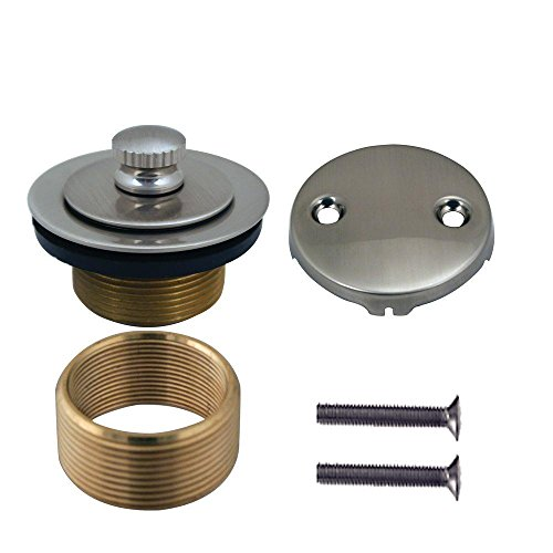 Westbrass Twist & Close Strainer Drain with 2-Hole Overlfow Faceplate, Satin Nickel, (Satin Nickel 2 Hole)
