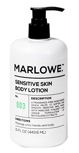 MARLOWE. No. 003 Sensitive Skin Body Lotion 15 oz | Hypoallergenic, Fragrance-Free, Natural Lotion for Dry Skin