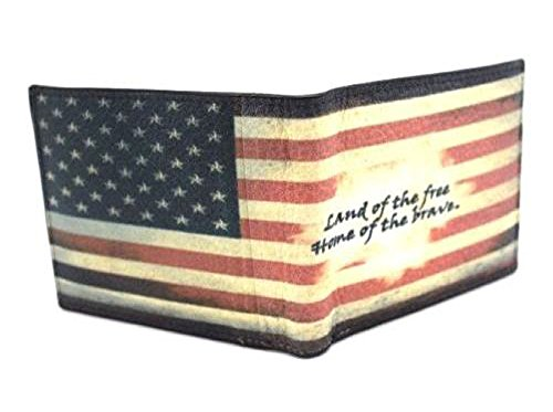 Land Leather Collection (Digital Graphic Print Bi-fold Wallet Genuine Leather USA flag,Eagles,Skull tiger,Playing card,Magic (Red-USA Flag Land of the free home of the brave))