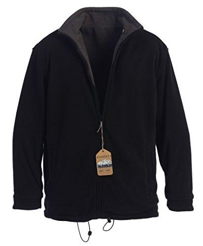 Gioberti Mens Zip Up Reversible Polar Fleece Heavy Jacket, Black/Charcoal, Small