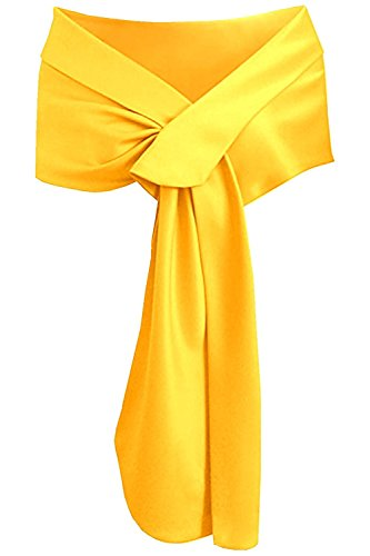 Soft Yellow Satin - LHY Costumes Satin Shawl Wrap For Evening Party (Yellow)