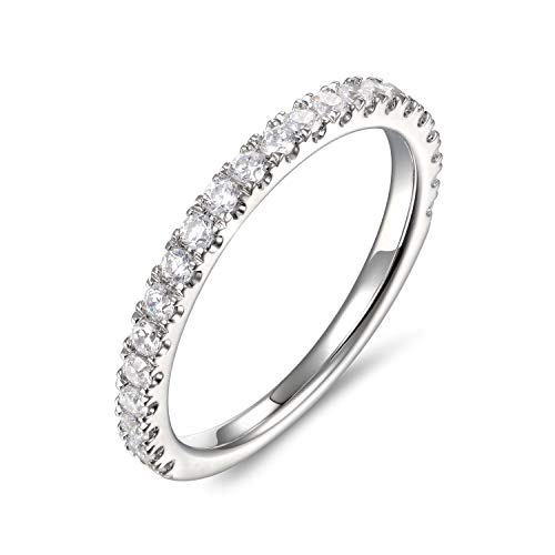 Lamrowfay 2mm Rhodium Plated Sterling Silver Riviera Petite Micropave Cubic Zirconia CZ Half Eternity Wedding Band Ring Women Girls (6) ()