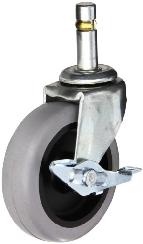 Shepherd-Regent-Series-3-Diameter-TPR-Wheel-Swivel-Caster-with-Side-Brake-716-Diameter-x-1-716-Length-Brass-Band-Grip-Ring-Stem-110-lbs-Capacity-Zinc-Finish