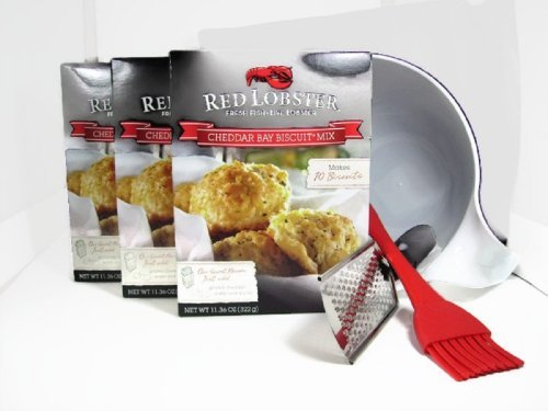 Red Lobster, Cheddar Bay Biscuit Mix, 3- 11.36 Oz. boxes Bundled with 3 Bonuses to make these biscuits super easy to make! (Best Biscuits Cheese)