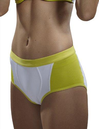 Yvette Women Mid-Rise Sports Control Panties #6004, White/Lime Green, XXL