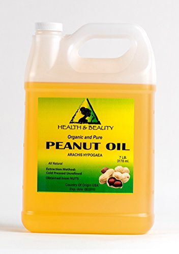 Peanut Oil Unrefined Organic Carrier Cold Pressed Virgin Raw Pure 128 oz, 7 LB, 1 -