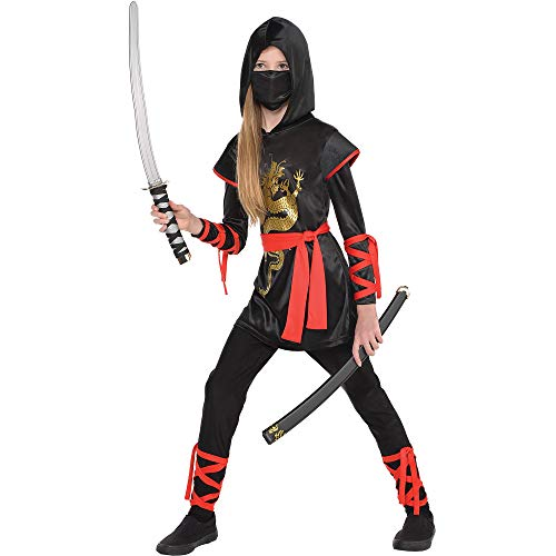 AMSCAN Ultimate Ninja Halloween Costume for Girls, Large, with Included Accessories -
