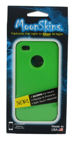 Moonskins MSK-WG01-01 Glow in the Dark Case for iPhone 4/4S - 1 Pack - Carrying Case - Retail Packaging - Green (Glow In The Dark Skin Iphone 4s)