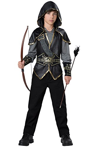 InCharacter Hooded Huntsman Costume, Black/Gray/Gold, X-Large