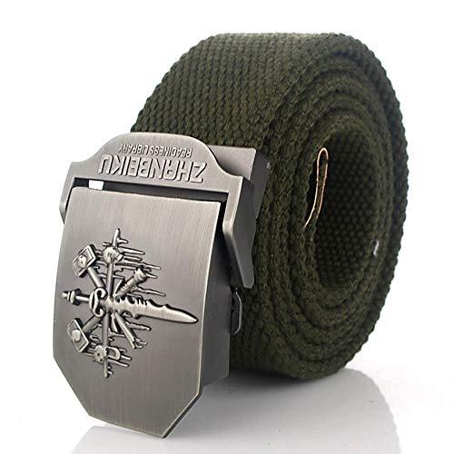 YUANZYYD Tactical Belt,Golden Green Skull Sword Metal Art Military Emblem Canvas Belt Alloy Buckle Military Men Belt Army Tactical Belts for Men Male Strap,160Cm