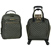 Kenneth Cole Reaction Women's Chelsea 2-Piece 17″ 4-Wheel Spinner Underseater Carry-On & Matching 15″ Laptop Backpack, Olive