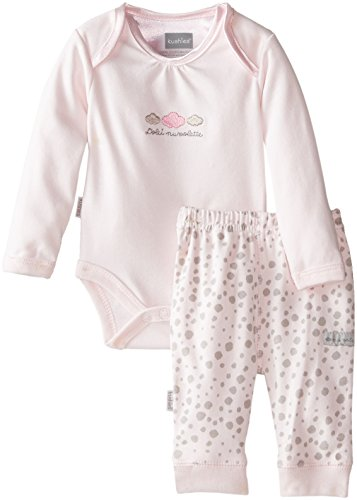Kushies Baby-Girls Newborn Long Sleeve Bodysuit and Pant Set Pink Solid Print Pant, Pink Solid/Print Pant, 12 Months