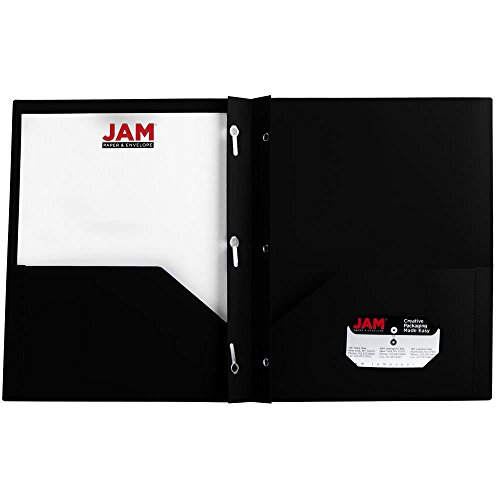 JAM Paper Plastic Eco Two Pocket Presentation Folder with Clasps - Black - 6/pack
