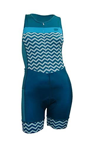 (Enjoy Triathlon Premium Tri Suits Women 2 Back Pockets Padded Pro Performance UV Protection UPF 30-50 Wicking Light Weight High Breathable and Durable 8232302468   (Blue, Large))