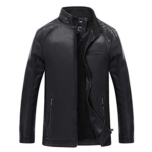 Men's M-6XL Autumn Winter Casual Pocket Zipper Thermal Leather Jacket Top Oversize Coat by Allywit (Image #9)