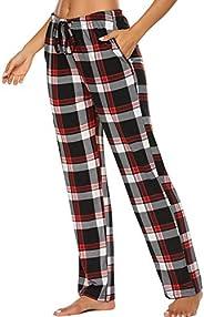 Oyamiki Women's Plaid Pajama Pants Sleepwear Drawstring Pj Bottoms Palazzo Lounge Pants with Poc