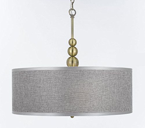 3 Light Pendant Drum Shade in US - 9