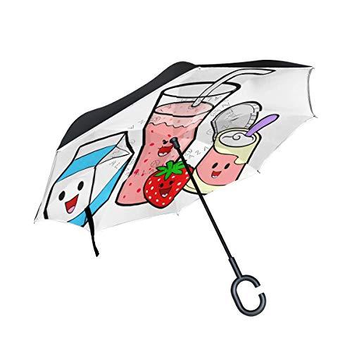 Reverse Umbrella Healthy Food Cartoon Windproof Anti-UV for Car Outdoor Use -