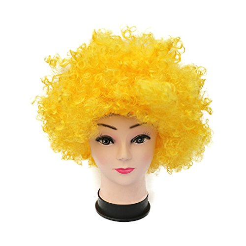 Novia's Choice Unisex Afro Curly Clown Party 70s Disco Wig Halloween Costumes Football Fan Cosplay Wigs(Yellow)