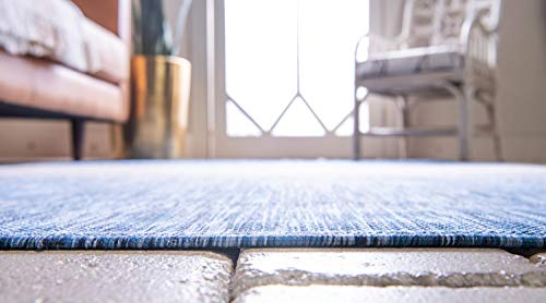 Unique Loom Outdoor Modern Collection Distressed Gradient Transitional Indoor and Outdoor Flatweave Blue Round Rug (4' 0 x 4' 0)