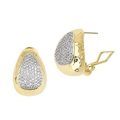 Top Gold Tone Triangle with Micro Pavé CZ French Clip Earrings for sale