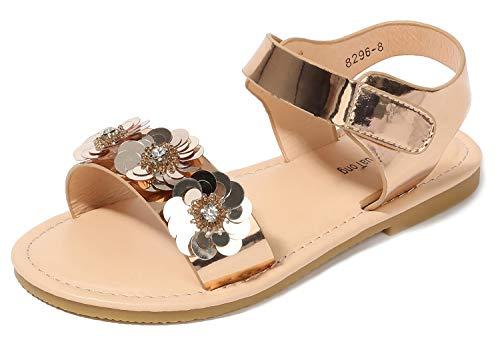 Dress Sandals for Girls Size 13 Flat Low Heeled Princess Gold Toddler Girl 7t Sequins Knot Flower Bench Flat 13 Sandals Crystal Platform Sparkle Little Girls Wedge Fashion Sandals (Gold 31) -